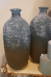 Glas fles bruin/blauw