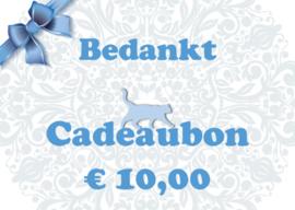 Cadeaubon per post (€ 10,00 / € 15,00 / € 25,00)