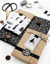 Sint cadeaukaartjes zwart wit met tekst