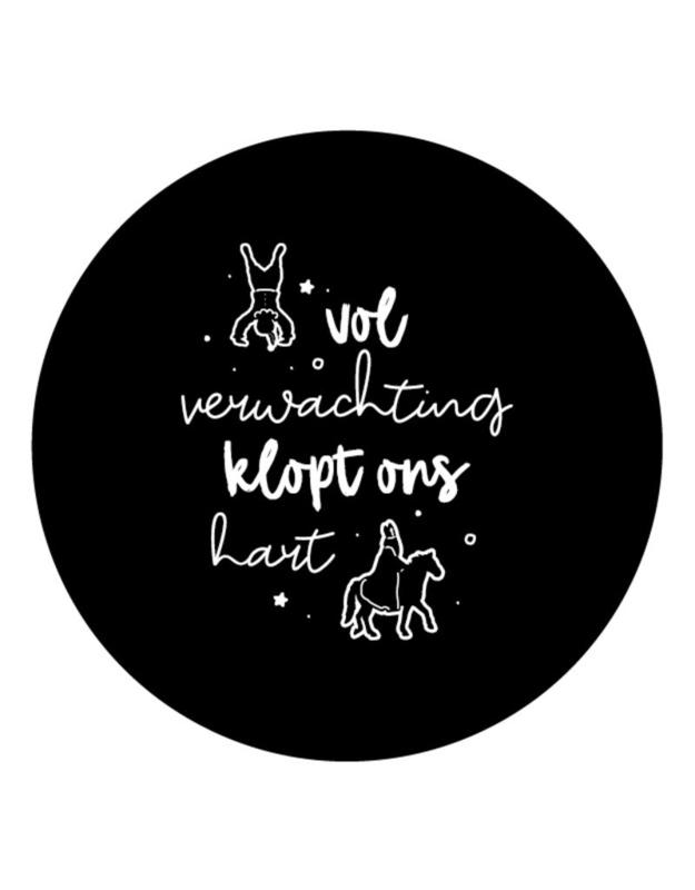 Muurcirkel Sinterklaas met tekst 'Vol verwachting klopt ons hart'