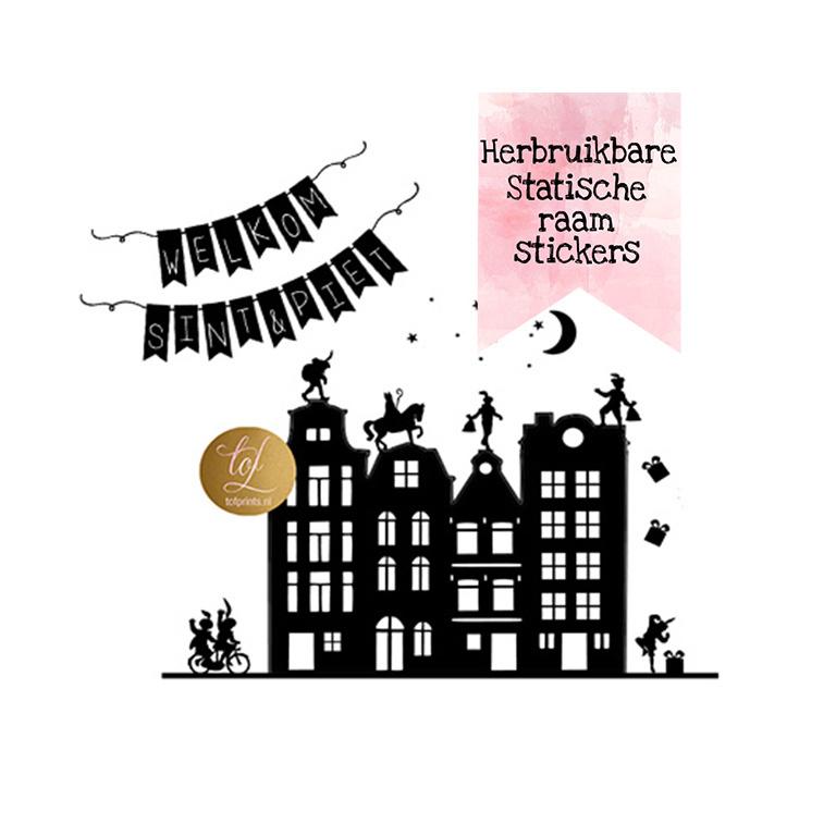 SINT & PIET GRACHTENPANDJES + SLINGER HERBRUIKBAAR