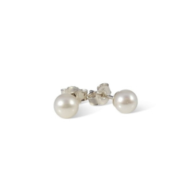 Silver stud earrings with fresh water pearls