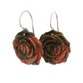 Zilveren bloemen oorbellen roze/groen