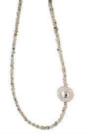 Prehnite gemstone necklace with silver wire element