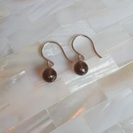 Zilveren oorbellen met rookkwarts