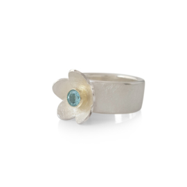 Silver ring with apatite in golden setting