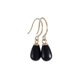 Gold earrings with onyx drops