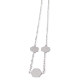Silver necklace with hexagon elements