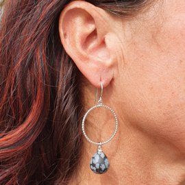 Silver earrings with snowflake obsidian drops
