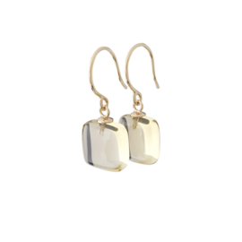 Gold earrings with citrine pendants