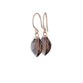 Rose gold earrings with leaf cut smokey quartz drops