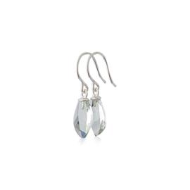 Zilveren oorbellen met prasioliet druppels