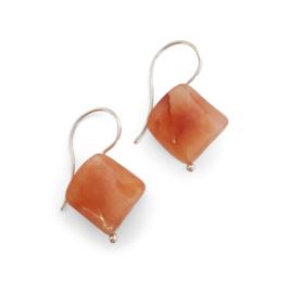 Zilveren oorbellen met carneool hangers