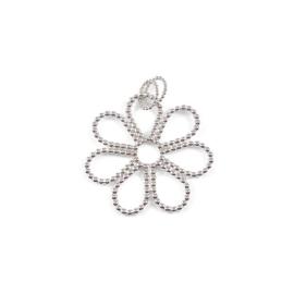Zilveren hanger bloem