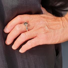 Silver ring with smokey quartz