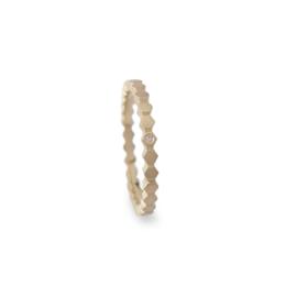 Gouden ring Hexa smal met diamant