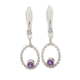 Silver earrings with 2.5 mm Amethyst