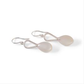 Zilveren oorbellen met maansteen druppels