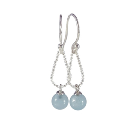 Silver earrings with aquamarine