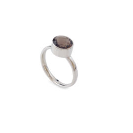Silver ring with smokey quartz