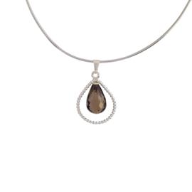Zilveren omega collier met rookkwarts hanger