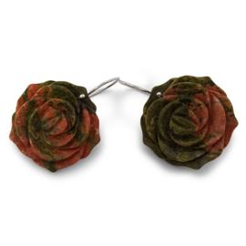 Silver flower power earrings with multi coloured jasper