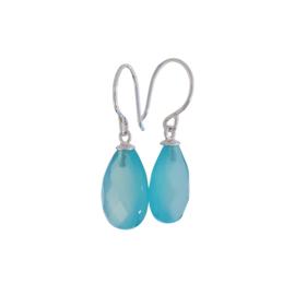 Zilveren oorbellen met blauwe chalcedoon druppels