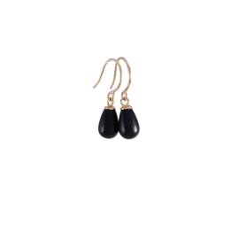 Geelgouden oorbellen met onyx druppeltjes