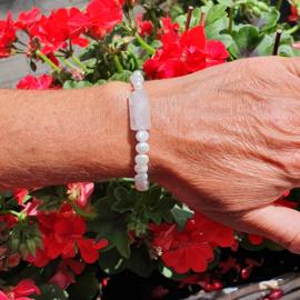 Parel en rozenkwarts armband