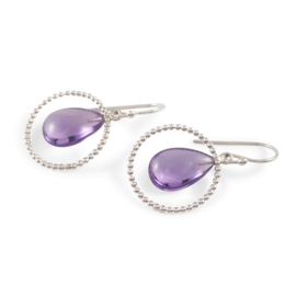 Silver earrings with amethyst drops