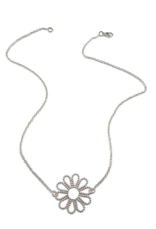 Zilveren collier met bloem