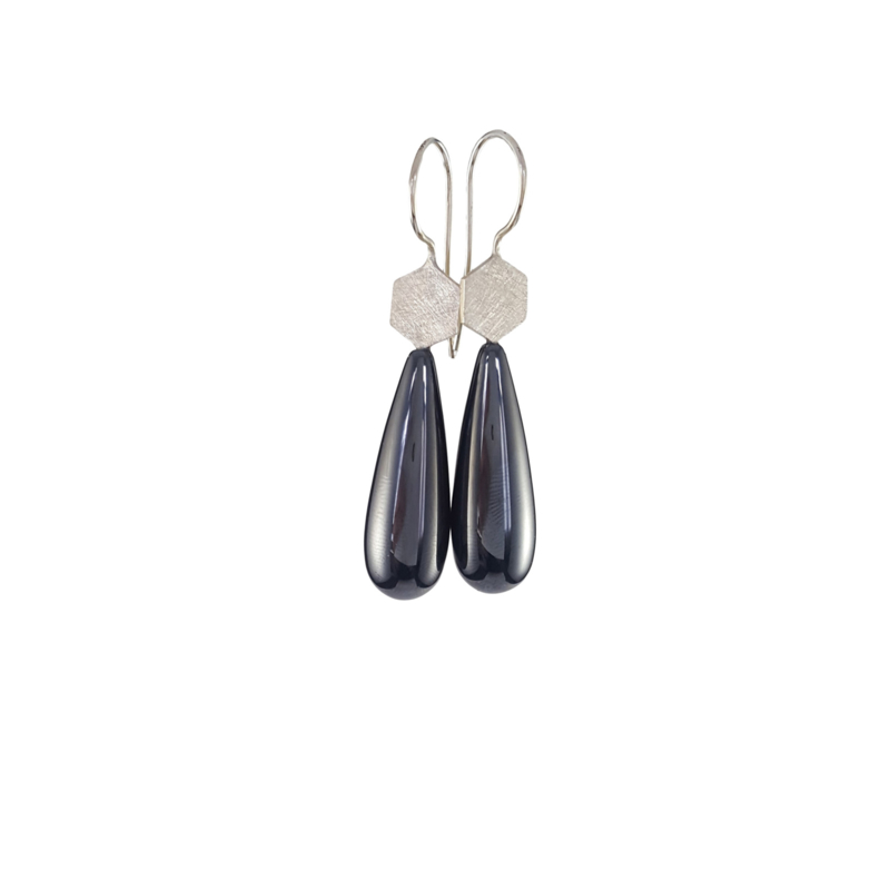 Silver hexagon earrings with hematite drops