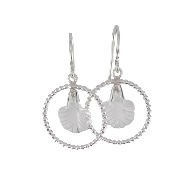 Zilver bergkristal bloem oorbellen