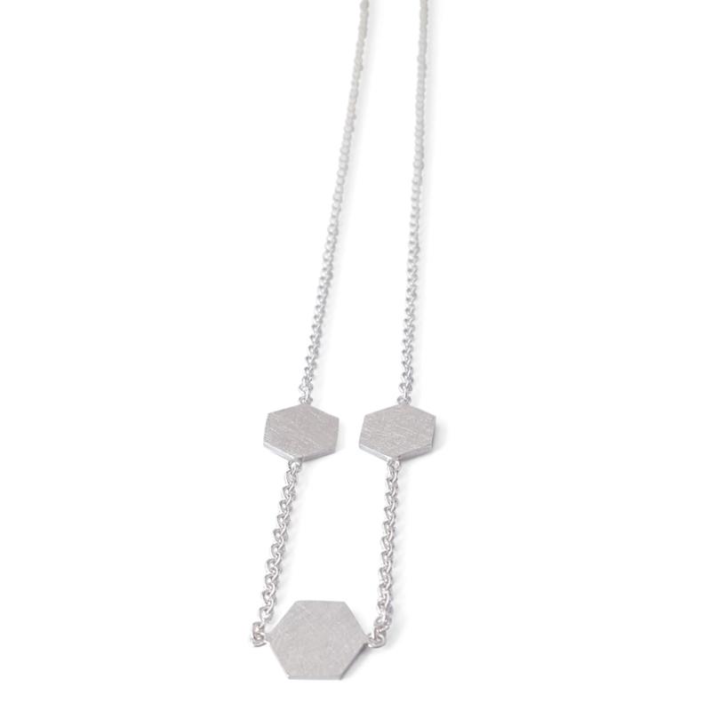 Zilveren Hexa collier smal/medium