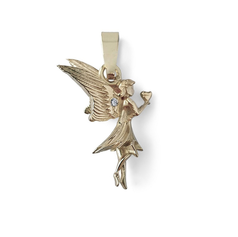 Gouden engeltjes hanger met diamant