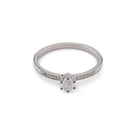 14 karaat witgouden verlovingsring met diamanten
