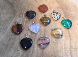 Diverse steensoorten hartjes hangers
