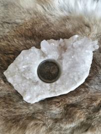 Bergkristal theelichthouder van 603 gram