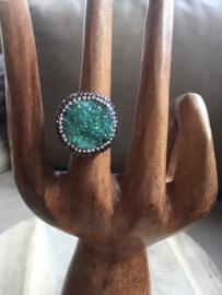 Bergkristal groen gekleurd maat17,5