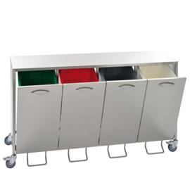 RVS voor 4 x 50 Liter afvalbak