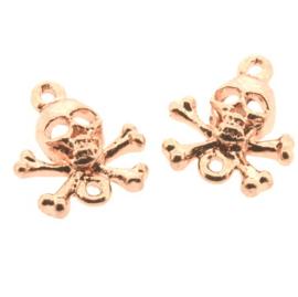 metalen bedel doodskopje 2 ogen roze goud gekleurd  p/ 2 stuks