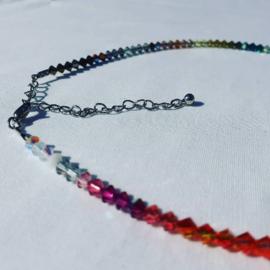 Rainbow collier Swarovski kralen 38 cm