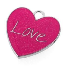 """bedel epoxy hart """"Love"""" roze 32 x 30mm"""