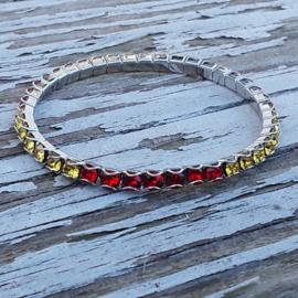 Swarovski Stretch Bracelet rood, geel (vlag)