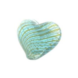 glaskraal hart hol turquoise/groen 17x19mm