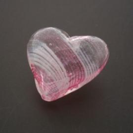 glaskraal hart hol roze/wit 17x19mm