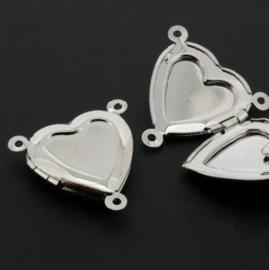 medaillon hart met drie ogen 23 x 20 mm NPL