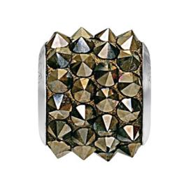 80901 BeCharmed Pavé Spikes Bead Metallic Light Gold 11,5 mm