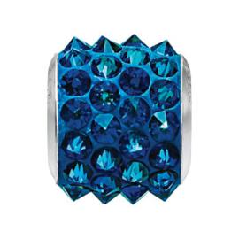 80901 BeCharmed Pavé Spikes Bead Crystal Bermuda Blue 11,5 mm
