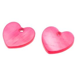 bedel schelp hart roze/fuchsia 13x13 mm  p/2 stuks
